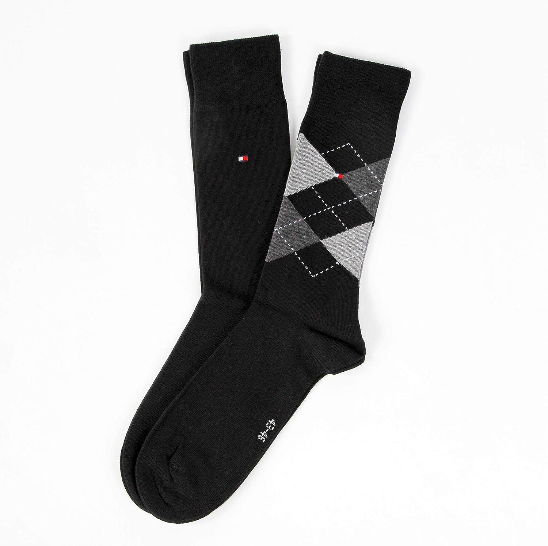 Nero Schwarz 39//42 200 black pacco da 2 Calzini Tommy Hilfiger Th Men Sock Check 2P uomo
