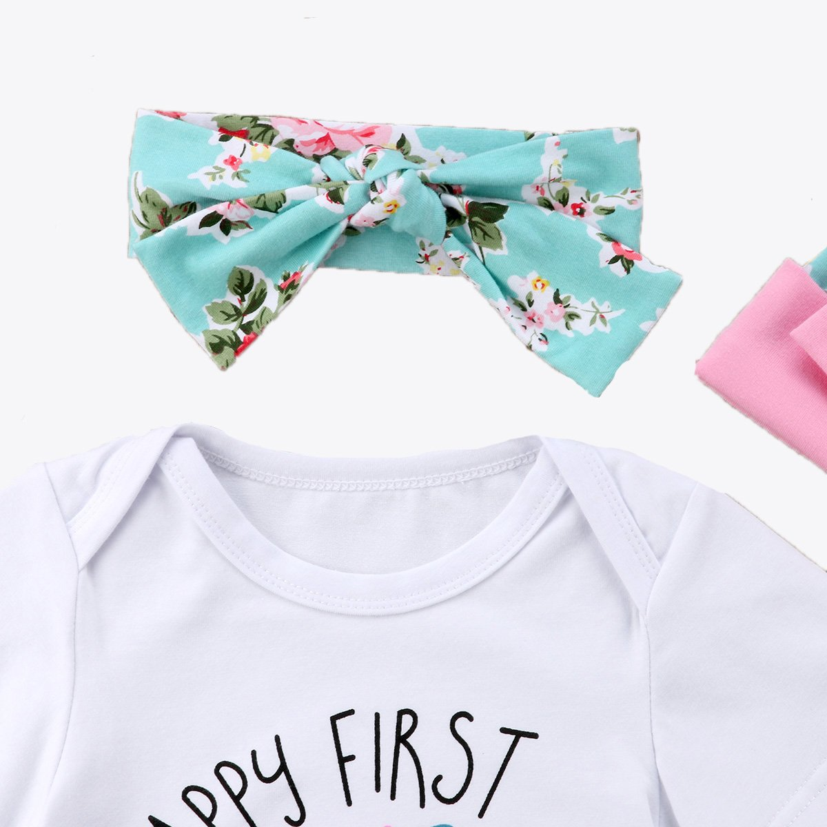 YT couple Mothers Day Newborn Girls Clothes Baby Romper Outfit Pants Set Short Sleeve Summer Clothing