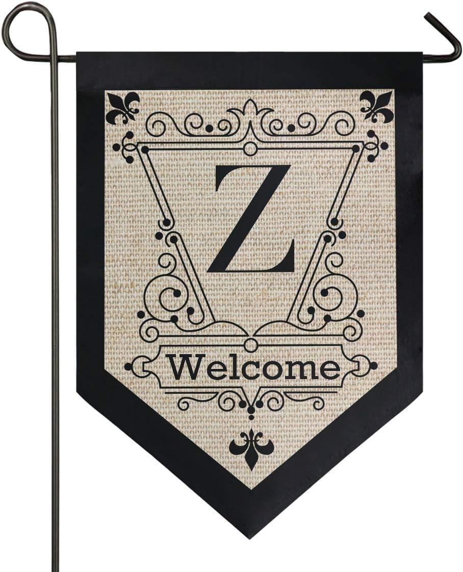 Oarencol Vintage Monogram Letter Z Welcome Fleur De Lis Flower Garden Flag Double Sided Home Yard Decor Banner Outdoor 12.5 x 18 Inch