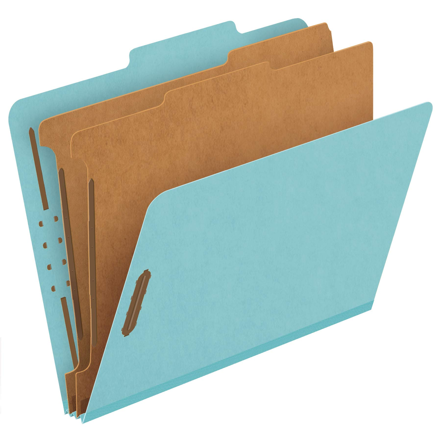 Pendaflex Recycled Classification File Folders, 2 Dividers, 2'' Embedded Fasteners, 2/5 Tab Cut, Letter Size, Light Blue, Box of 10 (24030R) by Pendaflex