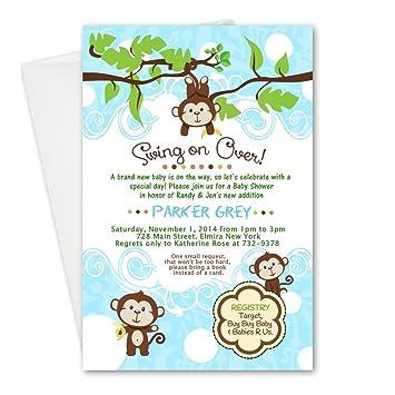 Amazon Swinging Monkey Baby Shower Birthday Party Cards