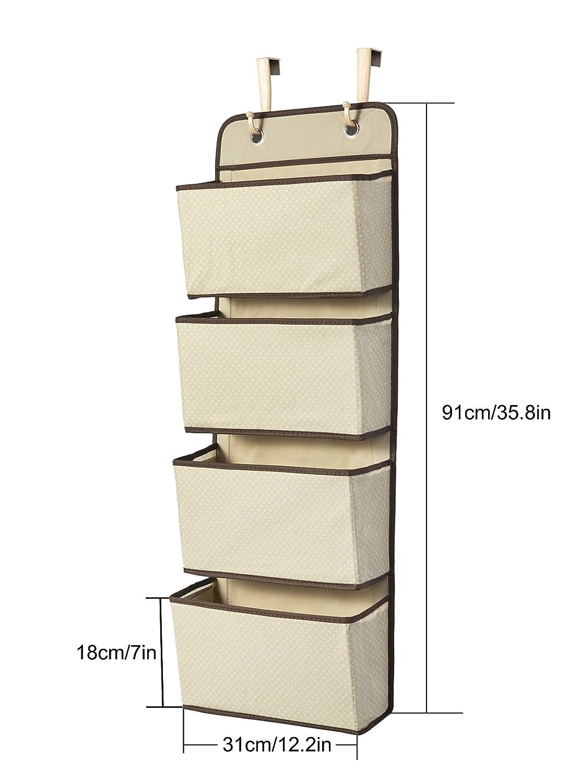 portamonete e asciugamani Organizzatore pensile per armadio Beige porta a 4 tasche per porta giocattoli