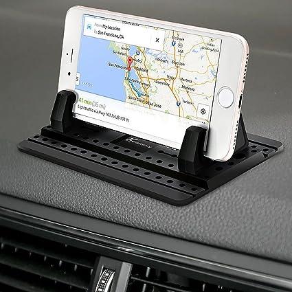 Auto Car Dashboard Anti-Slip Rubber Clip Phone Holder ABS Storage Box Black