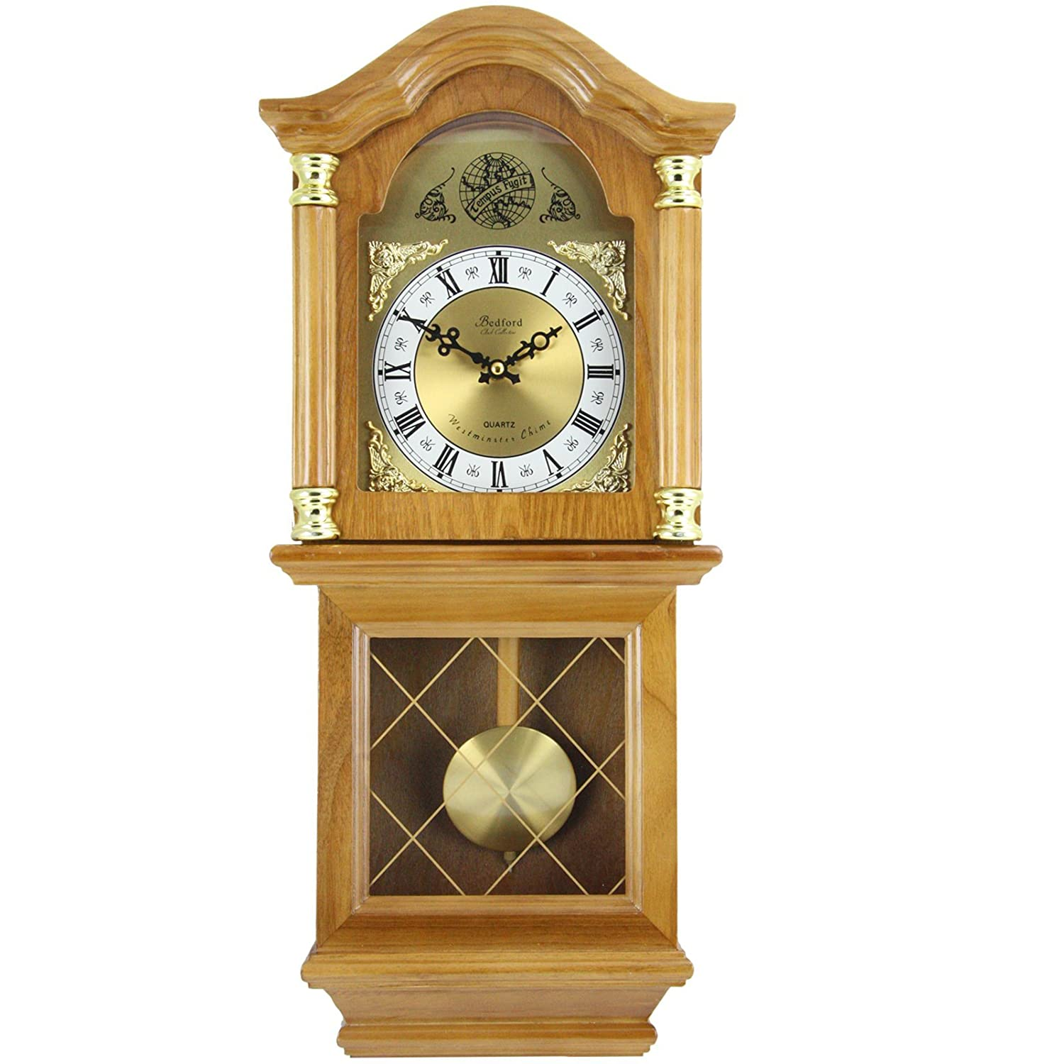 Bedford Clock Collection Classic Chiming Wall Clock with Swinging Pendulum,  Golden Oak