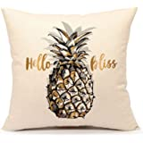 """4TH Emotion Hello Bliss Pineapple Throw Pillow Case Cushion Cover for Sofa Couch 18"""" x 18"""" Inch Cotton Linen"""