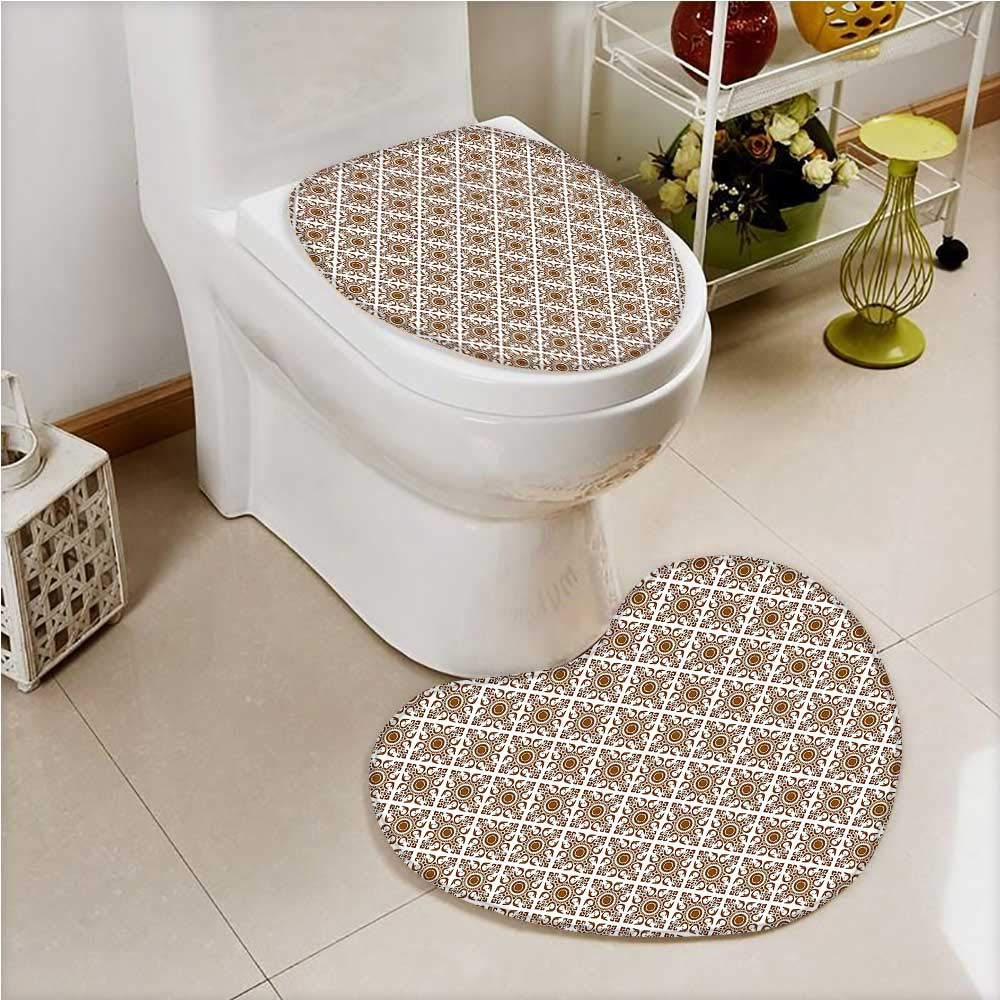 PRUNUS Toilet Heart shaped foot pad Thai Art Culture Stylized Lines Dots Folk Asian Design Redwood White Washable Non-Slip