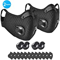 E COASTAL N99 Dust Mask, N95 PM2.5 Dustproof Safety Mask Respirator Activated Carbon, N-95 Pollution Breathing Masks Extra 12 Filters & 8 Valves for Pollen Allergy Mowing Cleaning Sports, 2 Packs