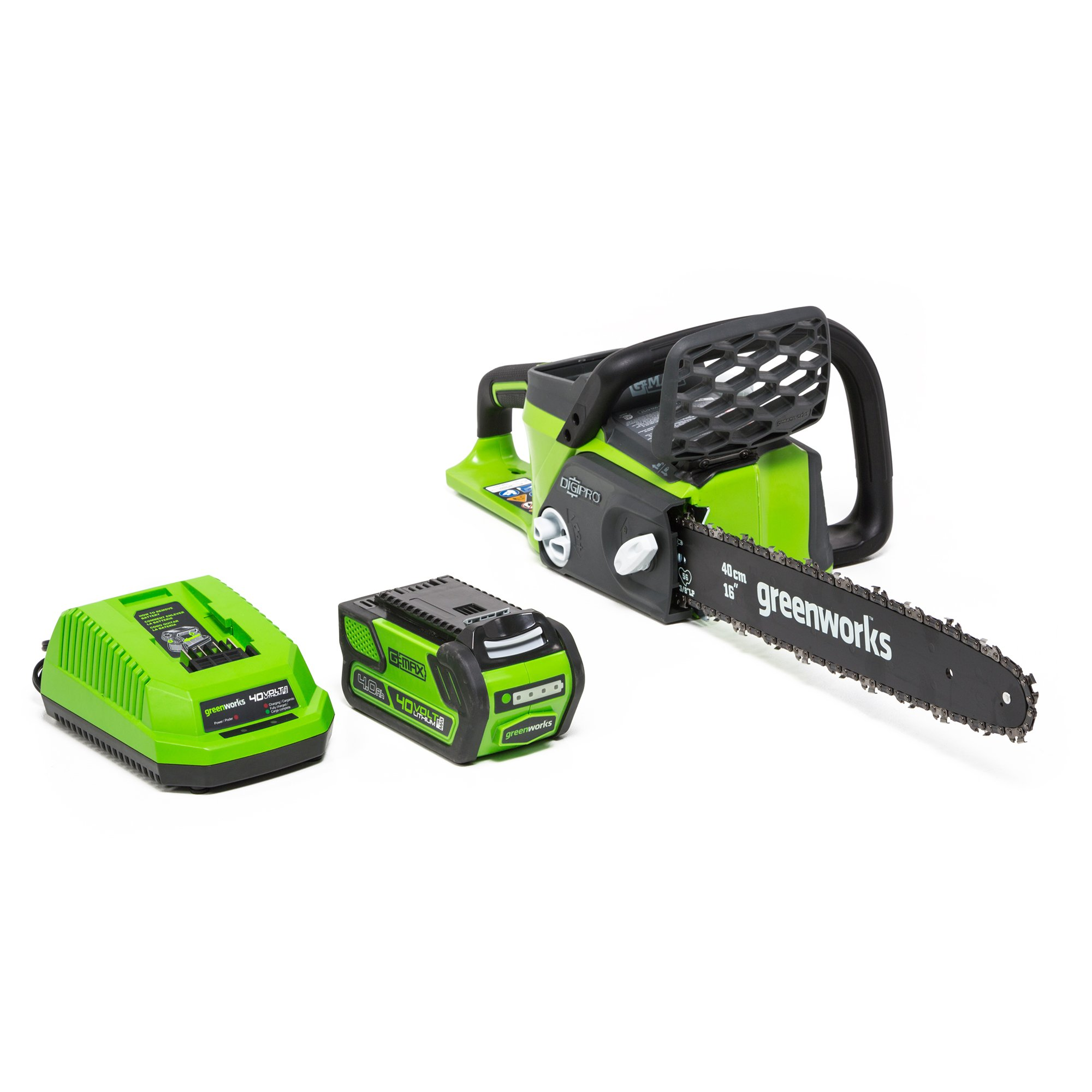 Greenworks G-MAX 40V 16-Inch Cordless Chainsaw, 4AH Battery and a Charger Included, 20312