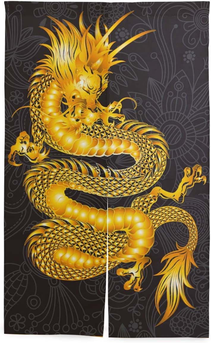 Printedin3D Chinese Dragon Japanese Noren Door Way Doorway Curtain Hanging Tapestry 34X56inch