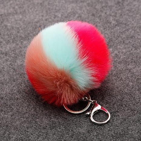 artistic9 (TM) Ranbow estilo clave cadenas de piel de conejo ...