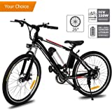 Aceshin 26'' Electric Mountain Bike Removable Large Capacity Lithium-Ion Battery (36V 250W), Electric Bike 21 Speed Gear Two Working Modes Black (US Stock)