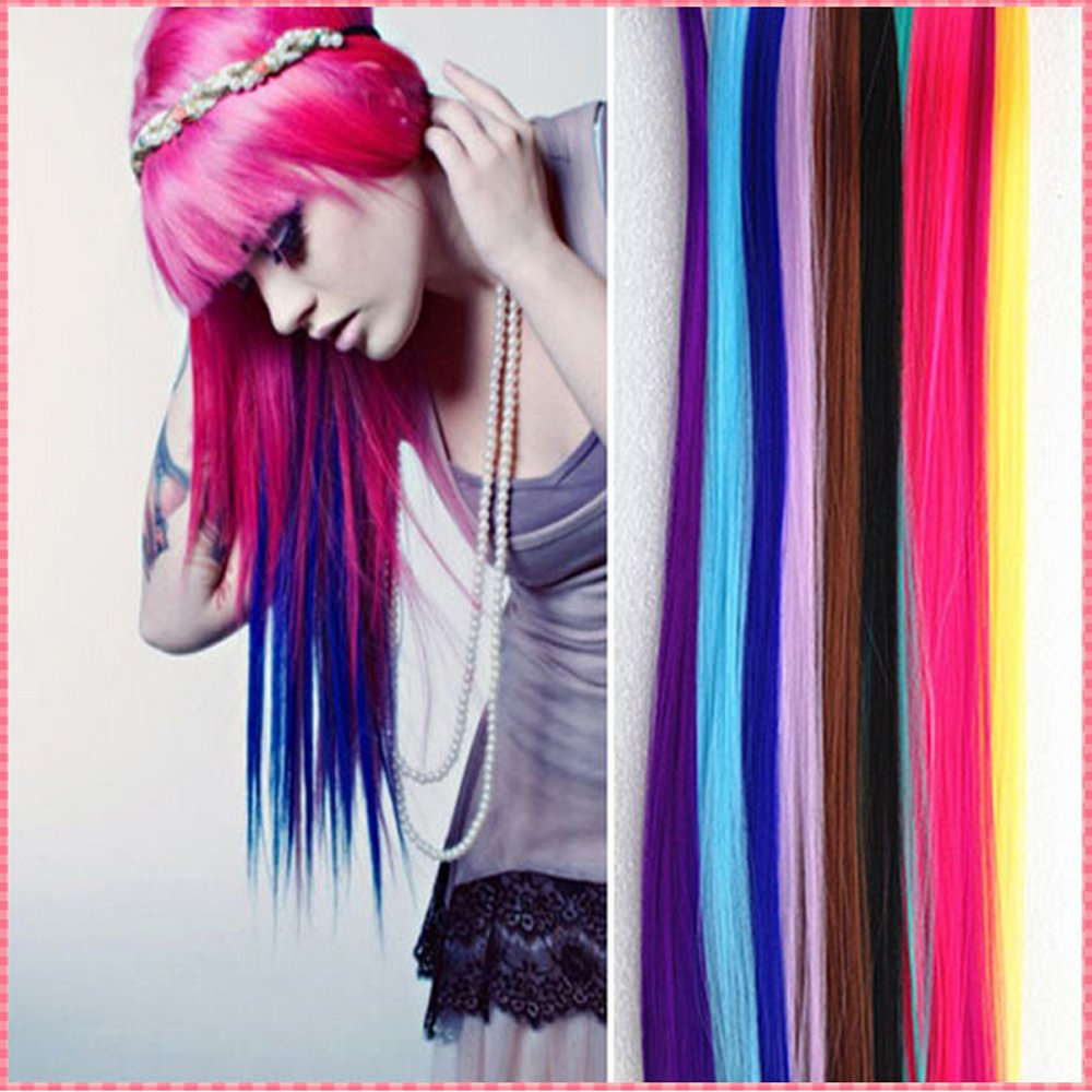 New Fashion 11 Different Colored Pieces Multi-colors Party Highlights Colorful Clip in Synthetic Hair Extensions Length 22 Inches