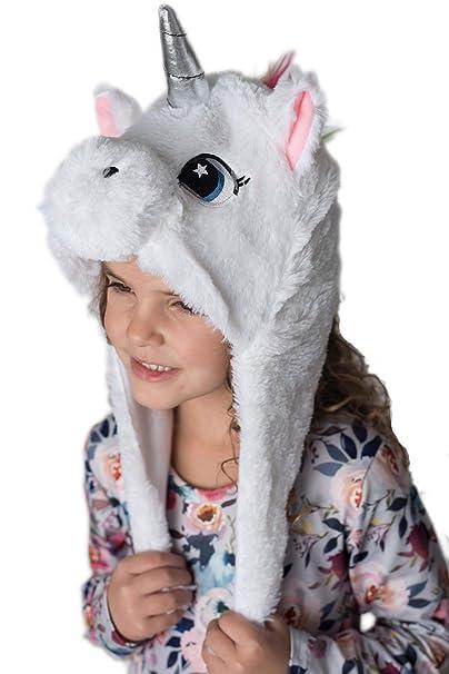 Amazon.com  Plush Unicorn Winter Hat for Girls Warm and Soft for ... c1d68029c4c