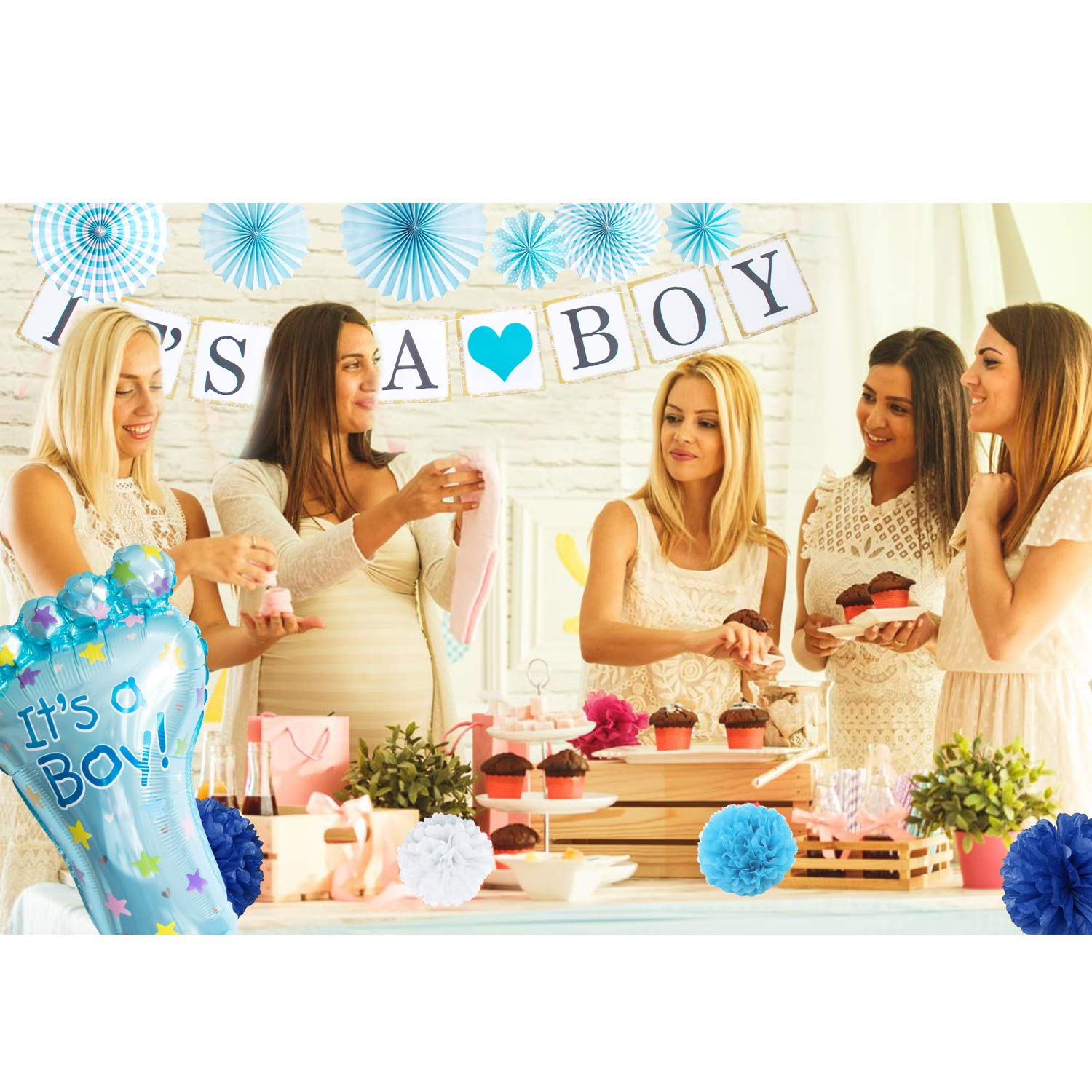 Baby Shower Decorations for Boy I BabyShower Backdrop Decor I Boy Baby Shower Decorations I Premium Party Decoration Items I Its a Boy Banner Star Swirls Foot-shaped Foil Balloon Lanterns, Cake Topper by Moment-O-Mania (Image #2)