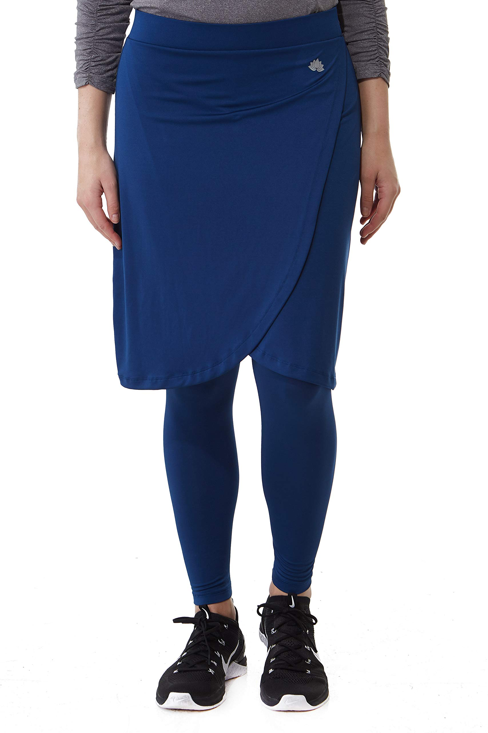 Snoga Athletics Faux Wrap Skirt with Ankle Leggings - Navy Blue, 1X by Snoga Athletics