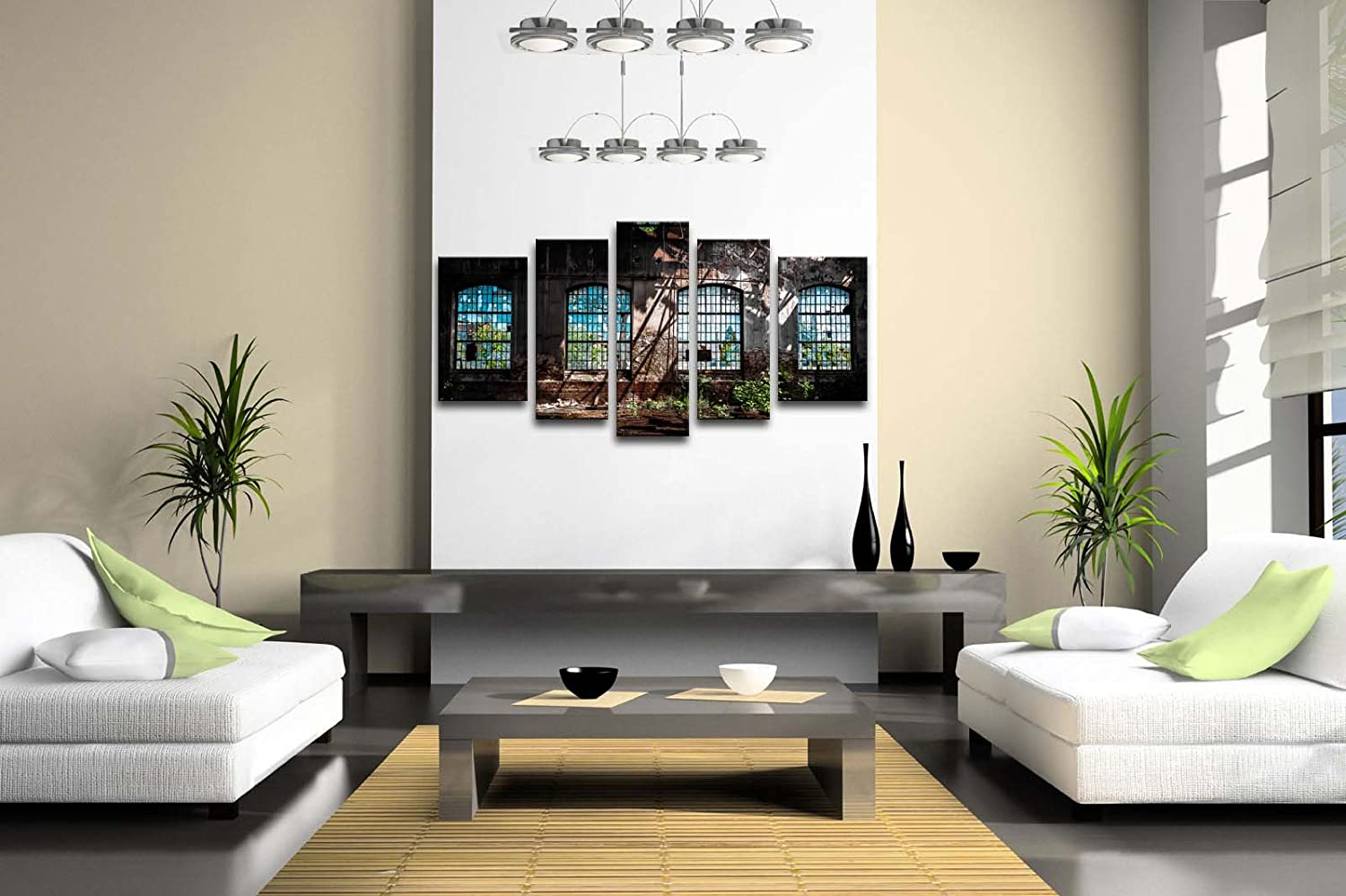 Amazon.com: 5 Panel Wall Art Abandoned Industrial Interior With ...