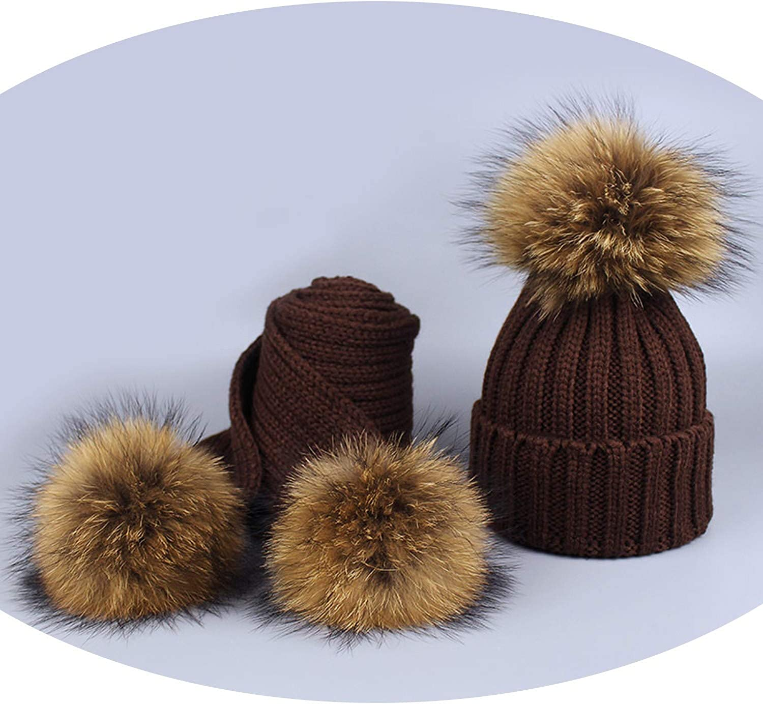 Girl Pom Pom Beanie Warm Knitted Bobble Fur Pompom Hat and Scarf Set Children Real Raccoon Fur
