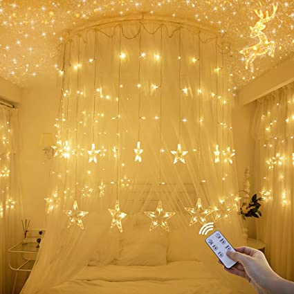 Star Lights New Led Star Curtain Lights With Remote Control Wedding Decorations Santa Stars Fairy String Lights Christmas Window Party Home Garden