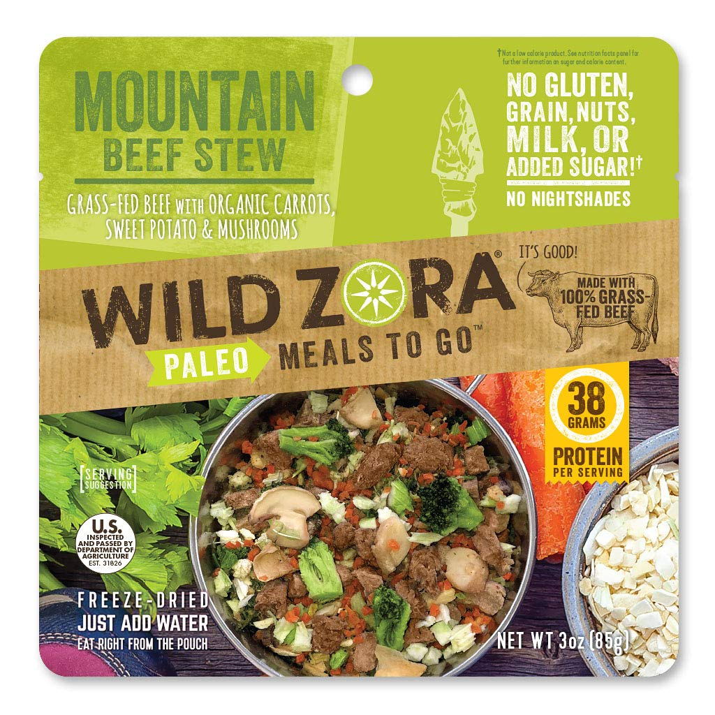 Wild Zora - Paleo Meals to Go - Freeze Dried, Lightweight, Paleo Meals for Backpacking, Camping, and on the Go (Mountain Beef Stew)