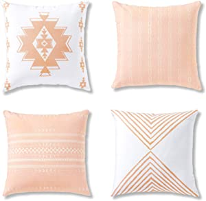 Decorative Throw Pillow Covers, Cushion Cases or Throw Pillows for Couch, Sofa, Bedroom, Bohemian Pillow Set of 4 18 X 18 Inches Cushion Cover for Home Décor or Farmhouse, 100% Cotton, Reef Set, Coral