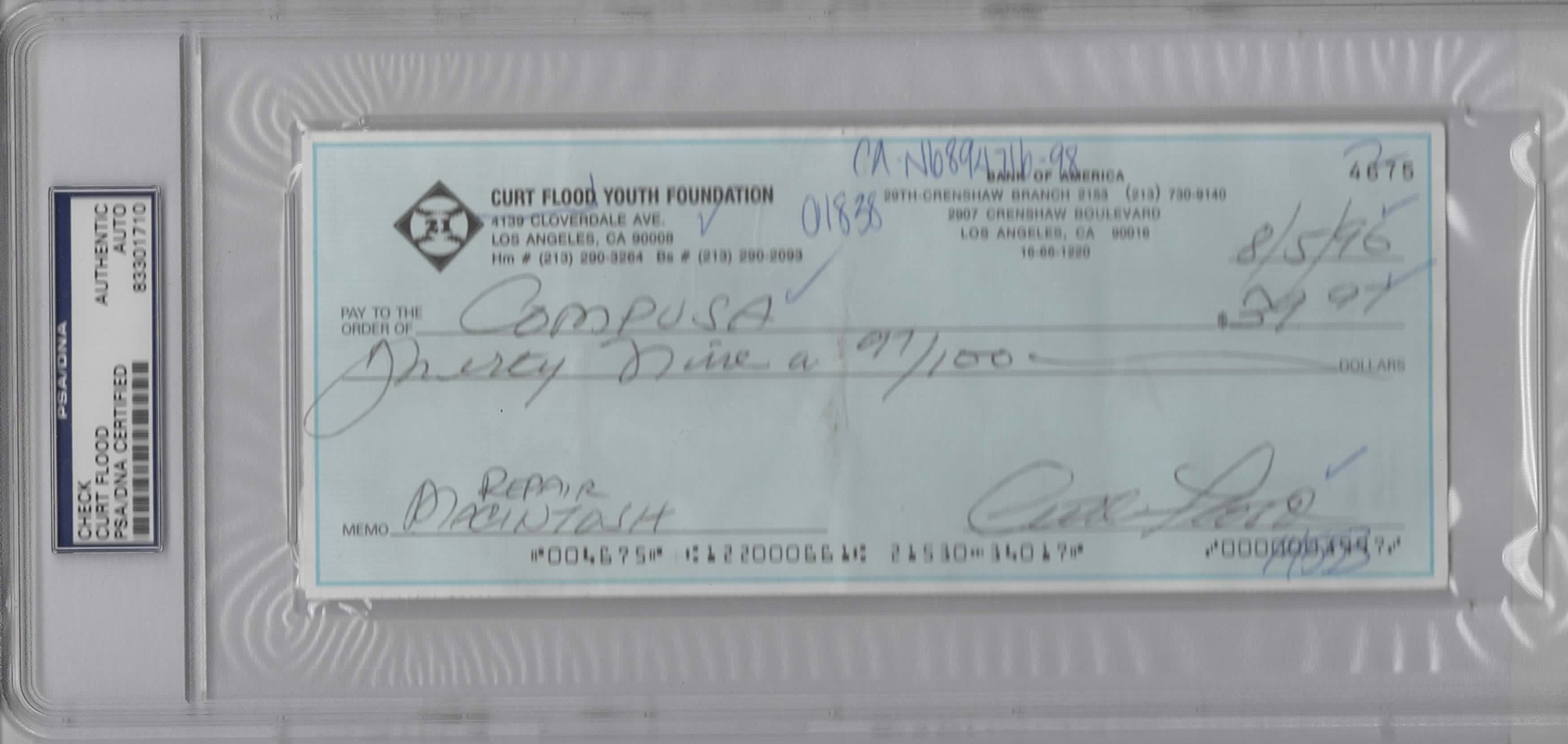 CURT FLOOD SIGNED PERSONAL CHECK SLABBED PSA/DNA #4675
