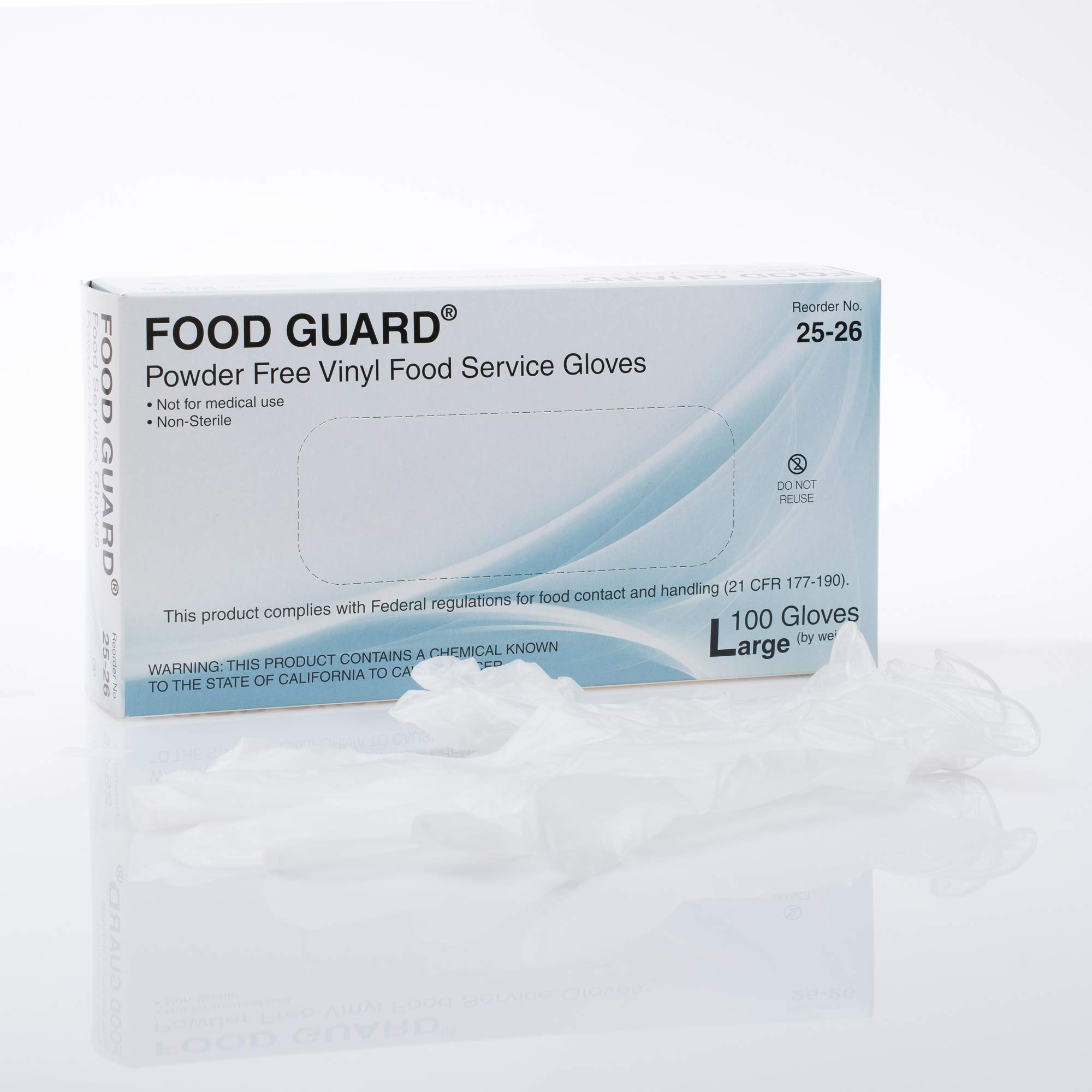 Food Guard Food Service Glove Vinyl Powder Free Large 25-26 20 Boxes, 100 /Box