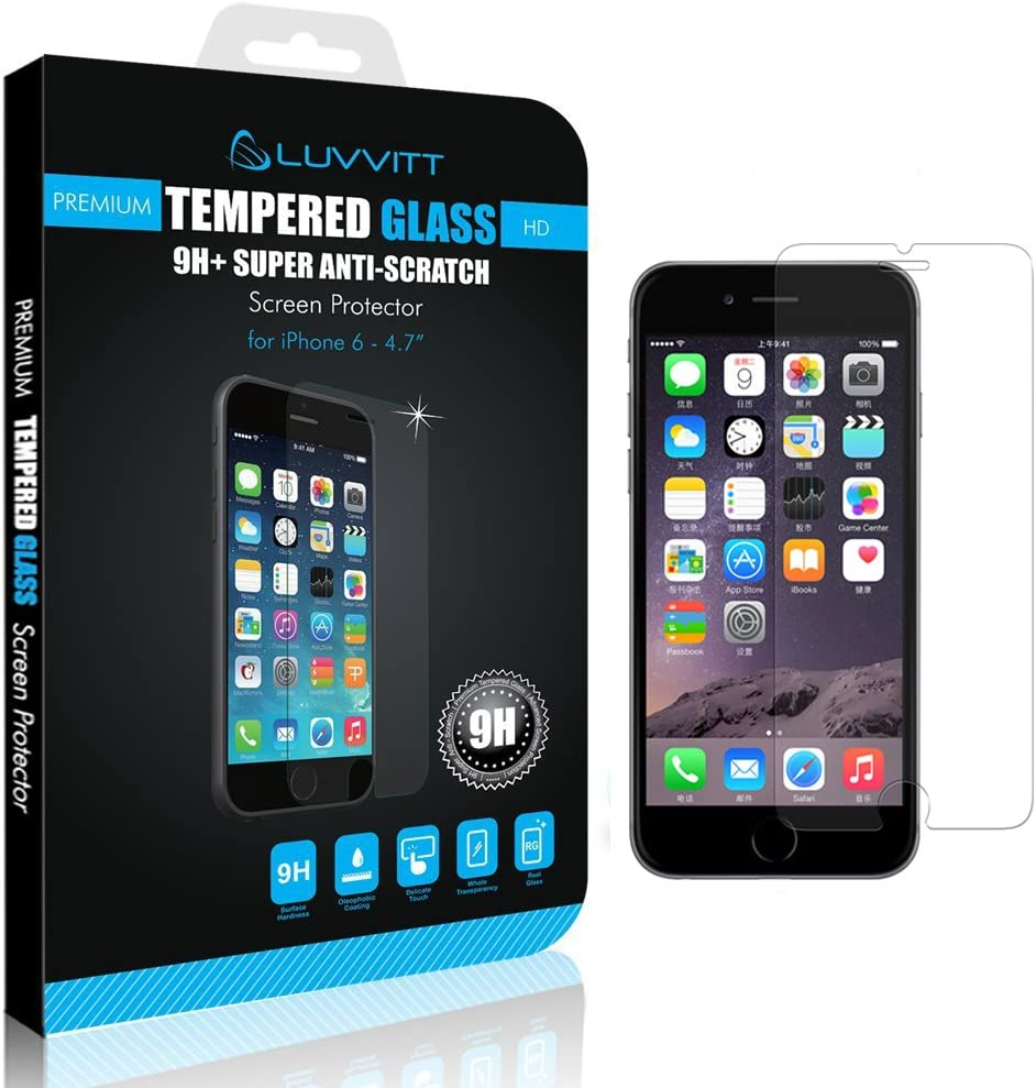 LUVVITT iPhone 6/6s Tempered Glass Screen Protector for iPhone 6/6s Fits Both Apple iPhone 6 (2014) and New iPhone 6S (2015) - Crystal Clear