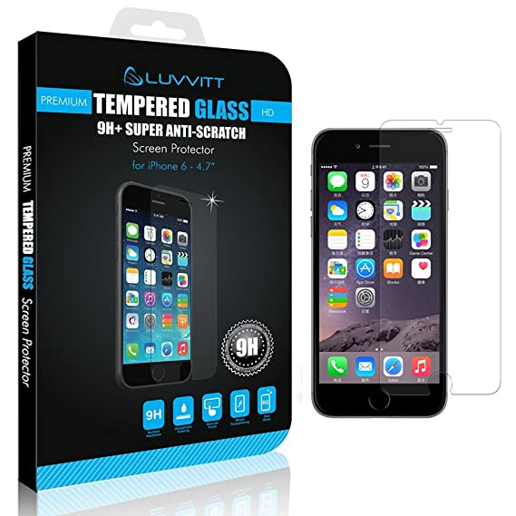 reputable site f3d9a 51669 LUVVITT iPhone 6/6s Tempered Glass Screen Protector for iPhone 6/6s Fits  Both Apple iPhone 6 (2014) and New iPhone 6S (2015) - Crystal Clear