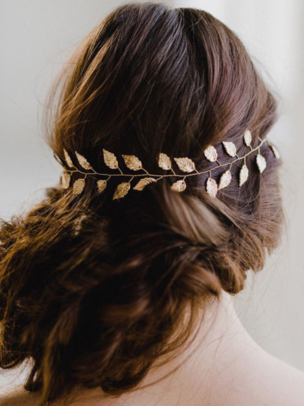 Yean Wedding Headband Gold Leaf Bridal Headpieces for Bridesmaid and Flowergirls (15.7 Inches) (Gold)