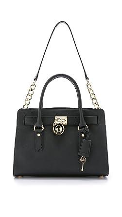 ce677176e9 Michael Kors 30S2GHMS3L-001 Hamilton Saffiano Medium Satchel Bag for Women  - Leather, Black
