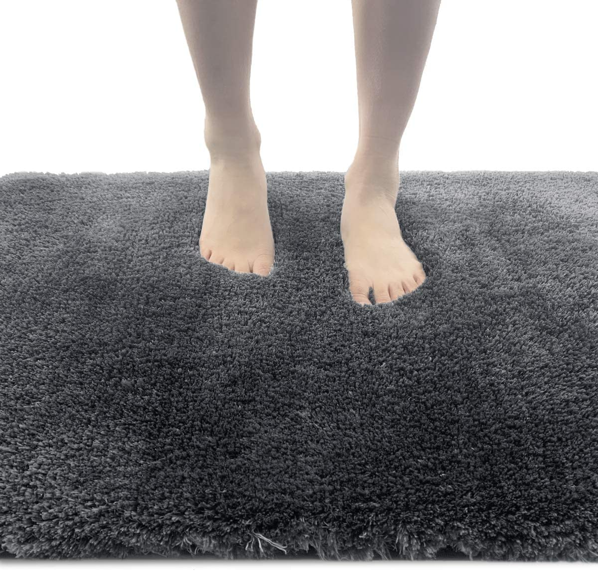 ITSOFT Non-Slip Bath Mat Water Absorbent Densely Woven Shaggy Soft Microfibers Bathroom Mat, Machine Washable, 24 x 39 Inches Gray