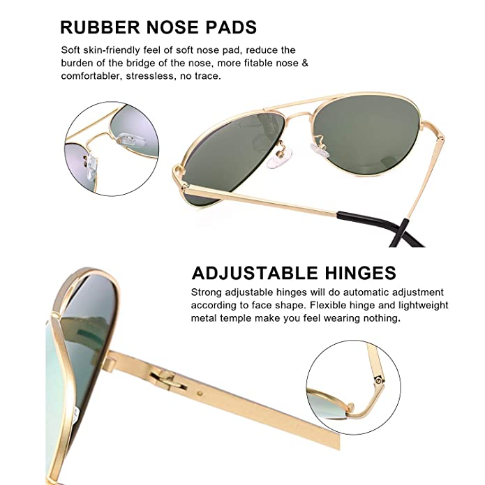 56d3b54f0859 Amazon.com  SODQW Aviator Sunglasses for Women Polarized Mirrored ...