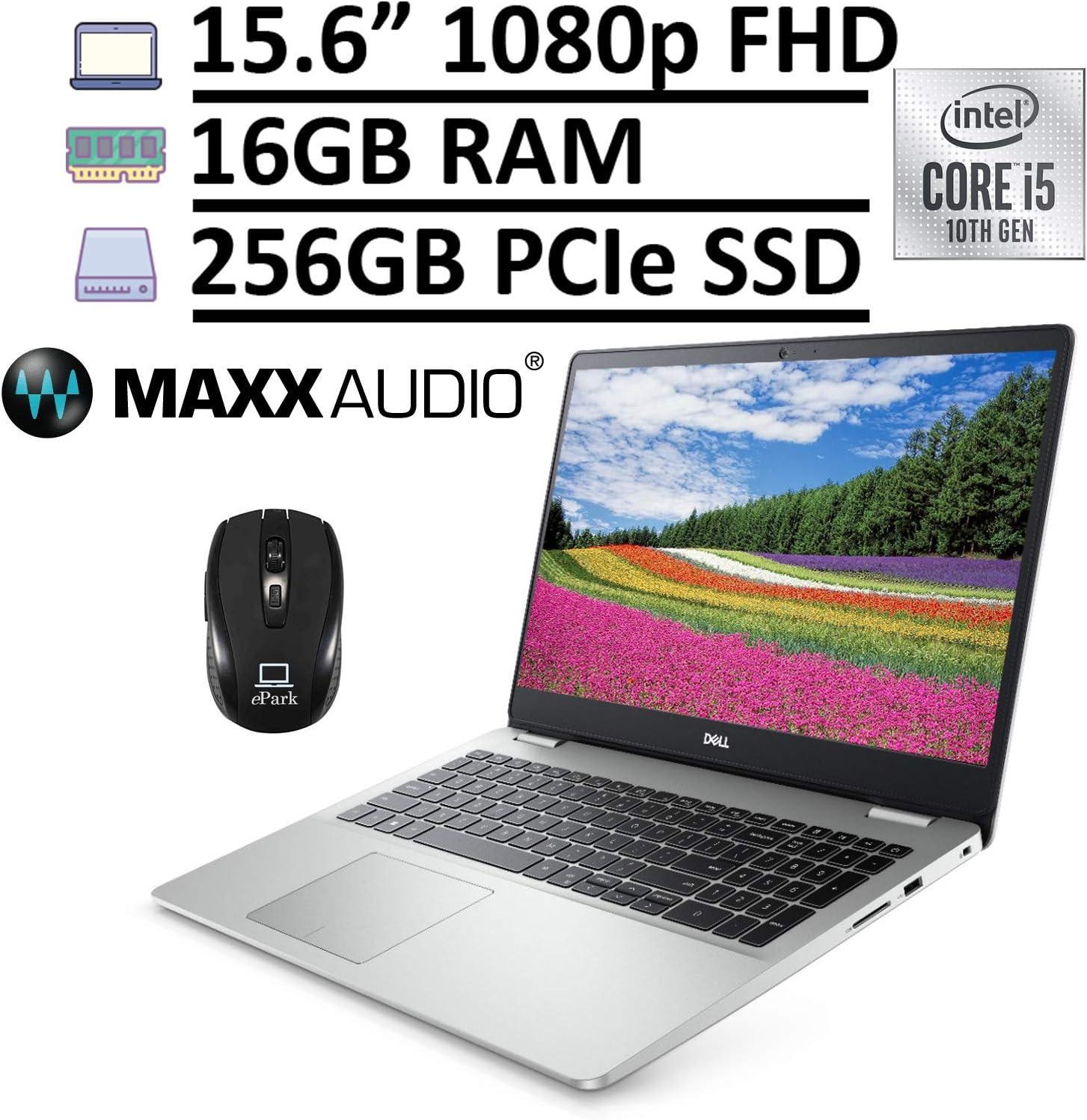 "2020 Dell Inspiron 15 5000 5594 Laptop, 15.6"" FHD Anti-Glare, 10th Gen Intel Core i5-10210U (Beats i7-7567U) 16GB RAM 256GB PCIe SSD, MaxxAudio Pro Backlit Keyboard Win 10 + ePark Wireless Mouse"