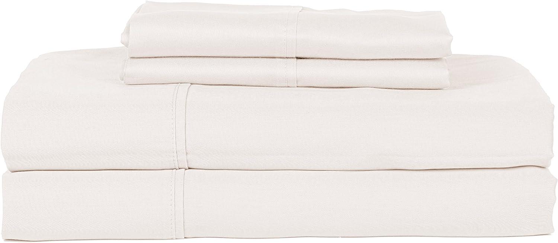 RDM Koncept Chateau De Robernier Collection T320 Sheet Set Solid Combed Cotton Sateen, King, Ash