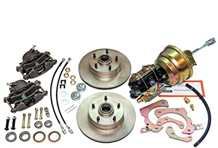 Compatible With 1955-1957 Chevrolet Chevy Front Power Disc Brake Conversion  Upper & Lower Kit Set