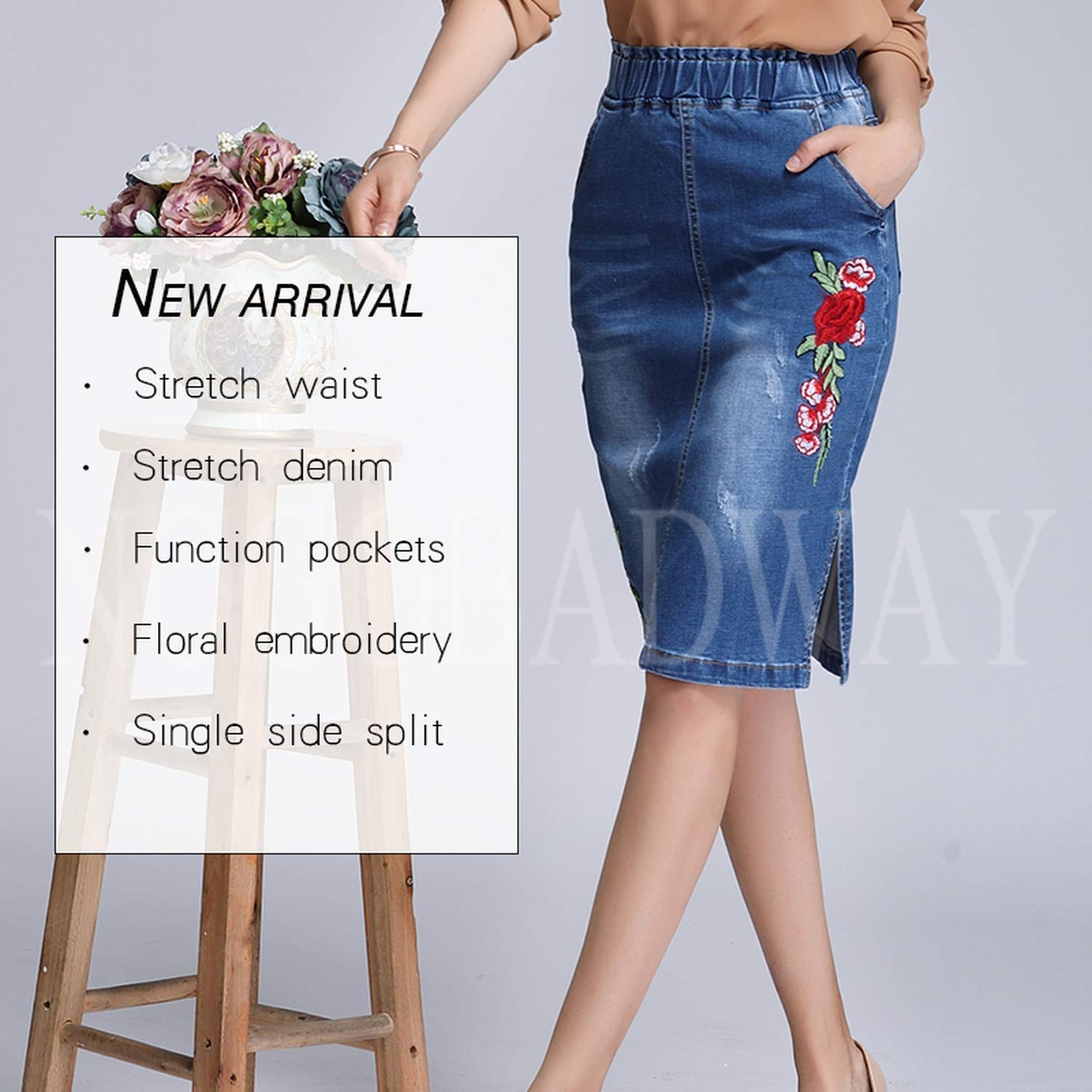 Plus Size Stretch Waist Floral Embroidered Denim Skirts Short Pencil Jeans Skirt