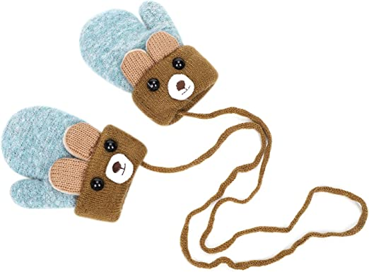 Baby Gloves Fashion Cute Kids Girls Bee Thicken Winter Warm Hot Gloves with Rope Infant Baby
