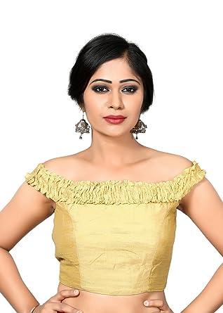 e614af63b4a0c Amazon.com  Gold Off The Shoulder Silk Saree Blouse  Clothing