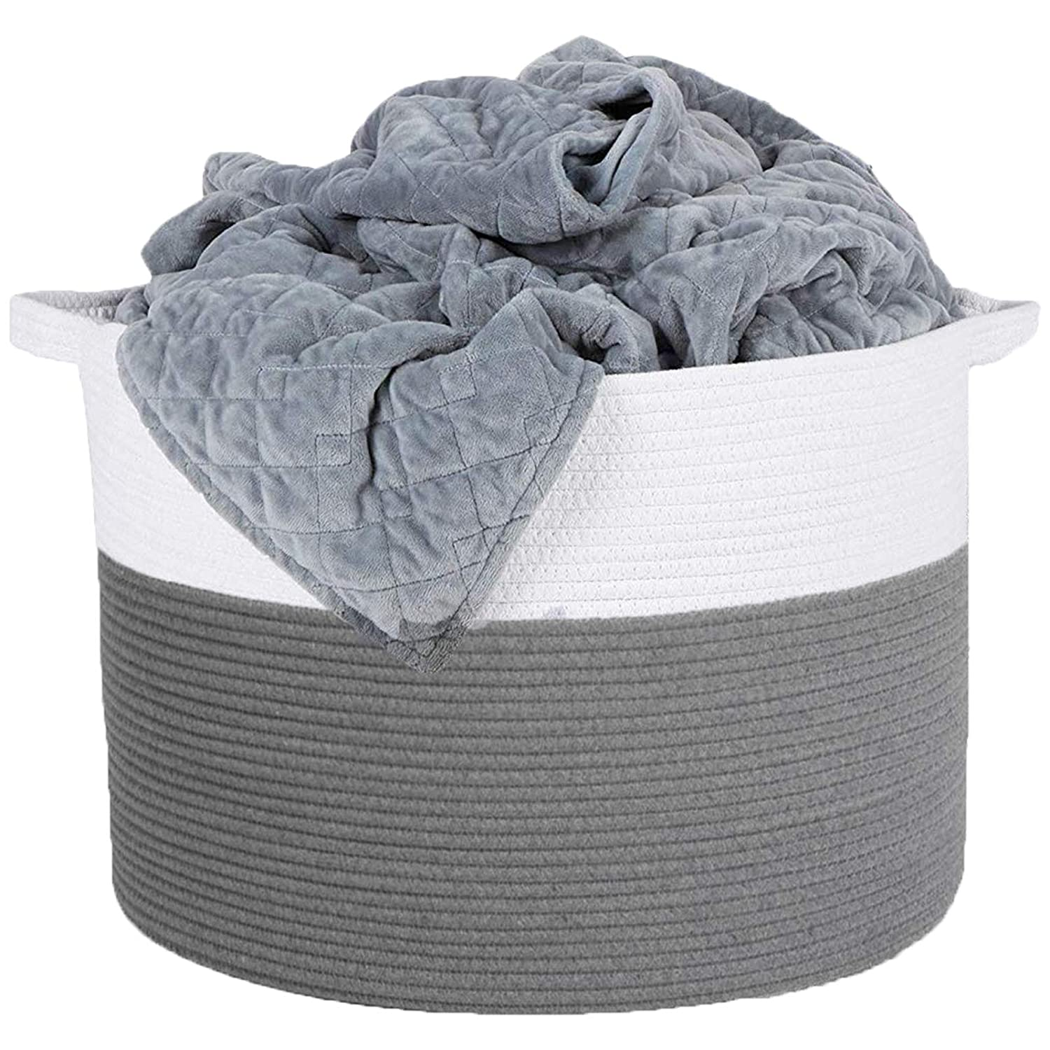 Cotton Rope Basket,Basket for Towels, Woven Storage Basket,Baby Laundry Toys Basket, Decorative Basket Hamper Gray & White 15'' × 13'' for Storage, Laundry, Toys, Clothes, Blankets, Towel, Pillows
