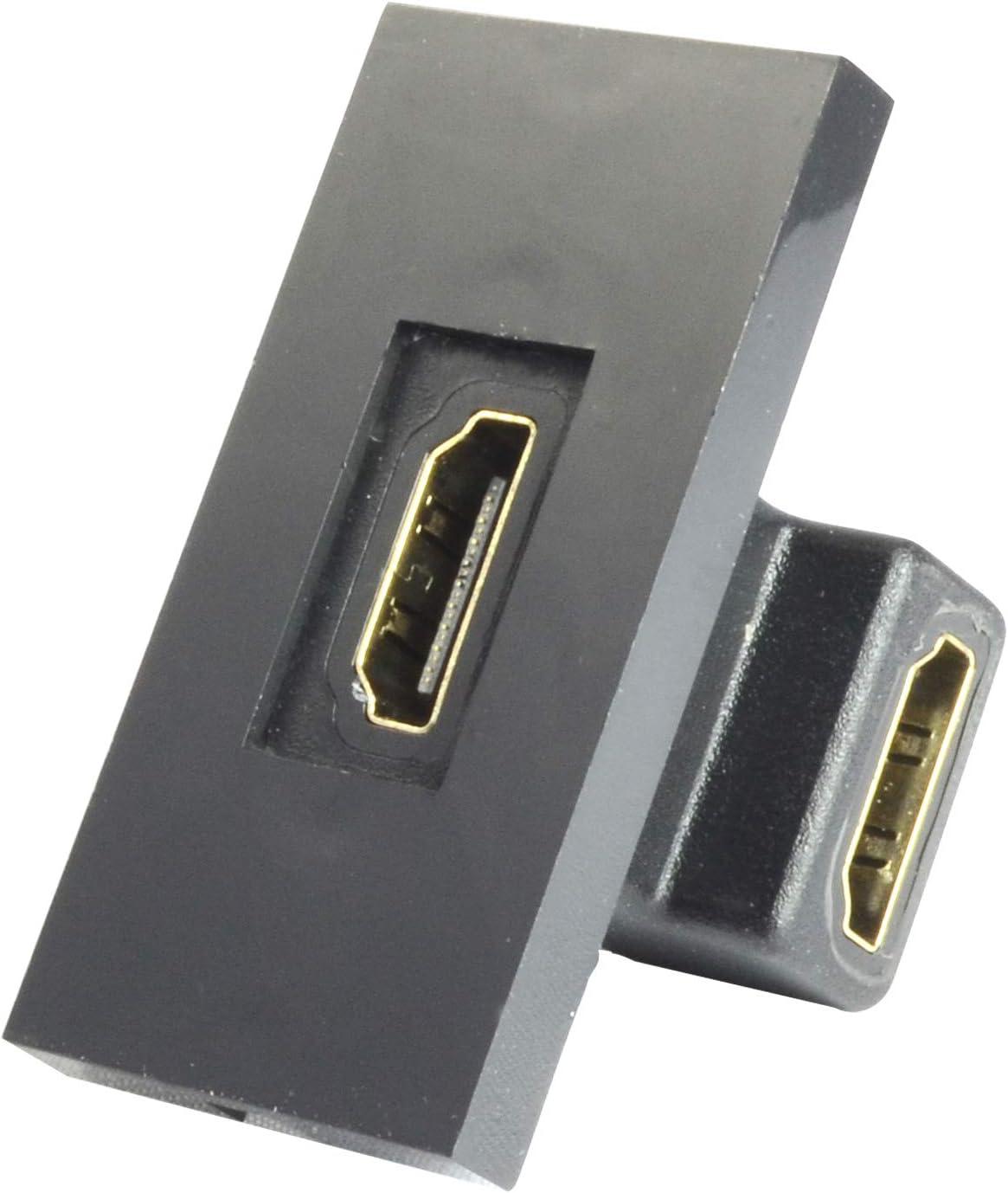 Module HDMI coud/é 25mm x 50mm Noir Adaptateur fa/çade SX7082BK