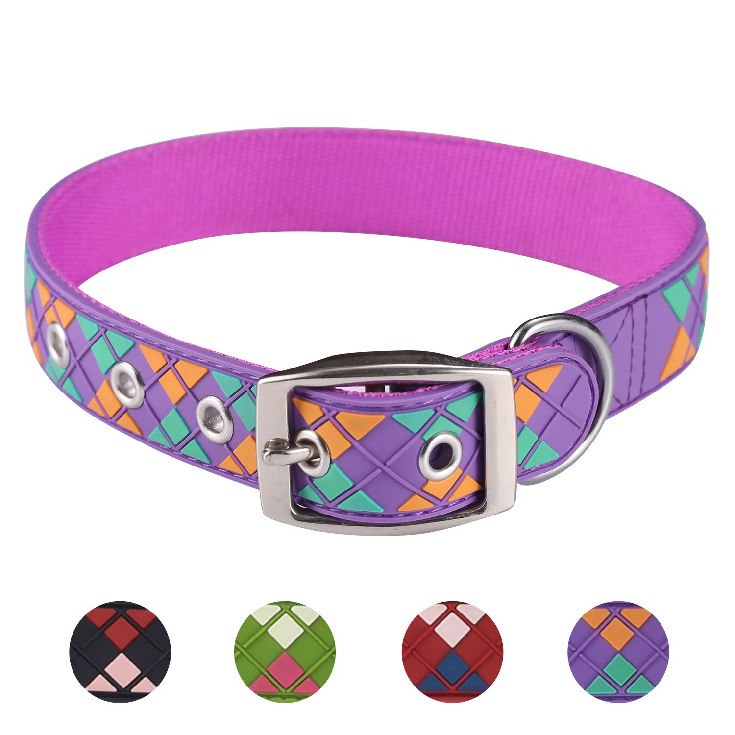 Purple X-small Neck 10\ Purple X-small Neck 10\ Paw Sport Argyle Dog Collars, Water Proof, Adjustable Collars for Dogs (X-Small Neck 10 -12 , Purple)