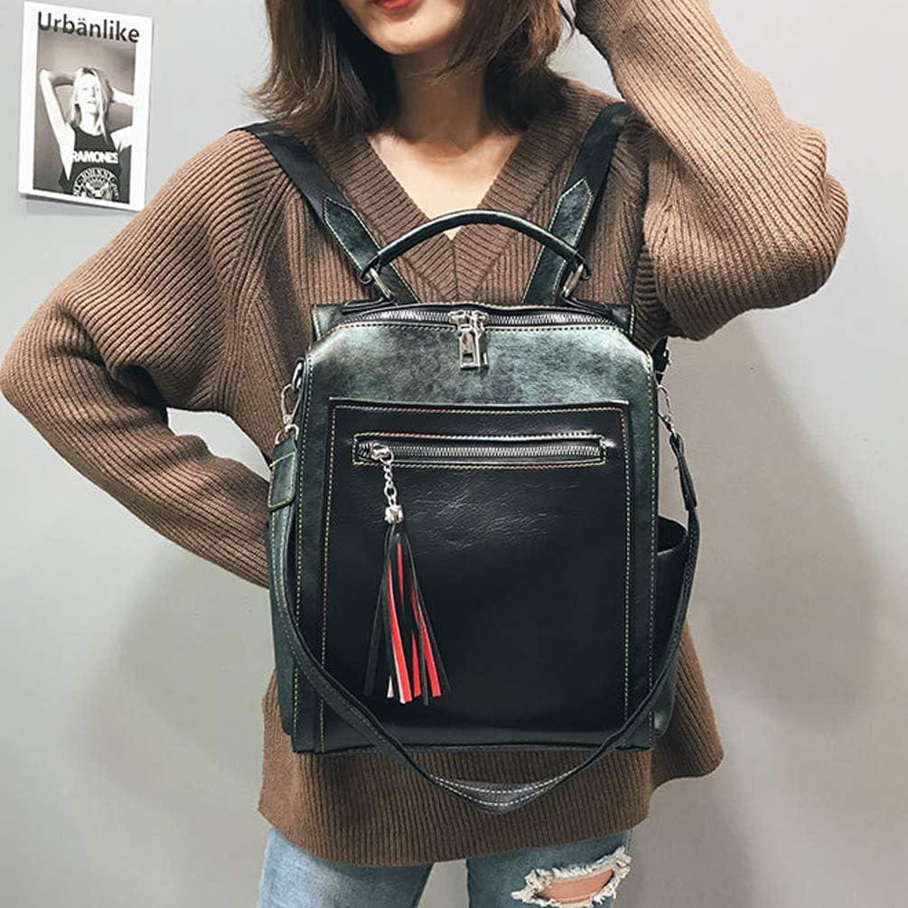 YKXY Women Backpack Retro Leather Handbag Large Capacity Shoulder Bag,Blue