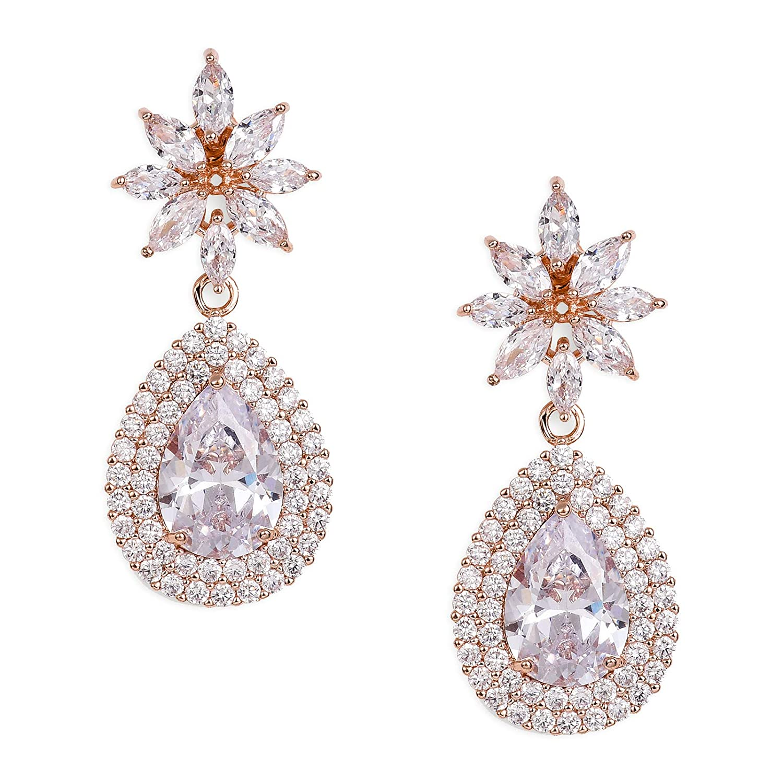 SWEETV Cubic Zirconia Teardrop Bridal Earrings, Rhinestone Dangle Earrings for Wedding Prom Anniversary Pagegant Wedding Jewelry Clear SVSEH17008CP12