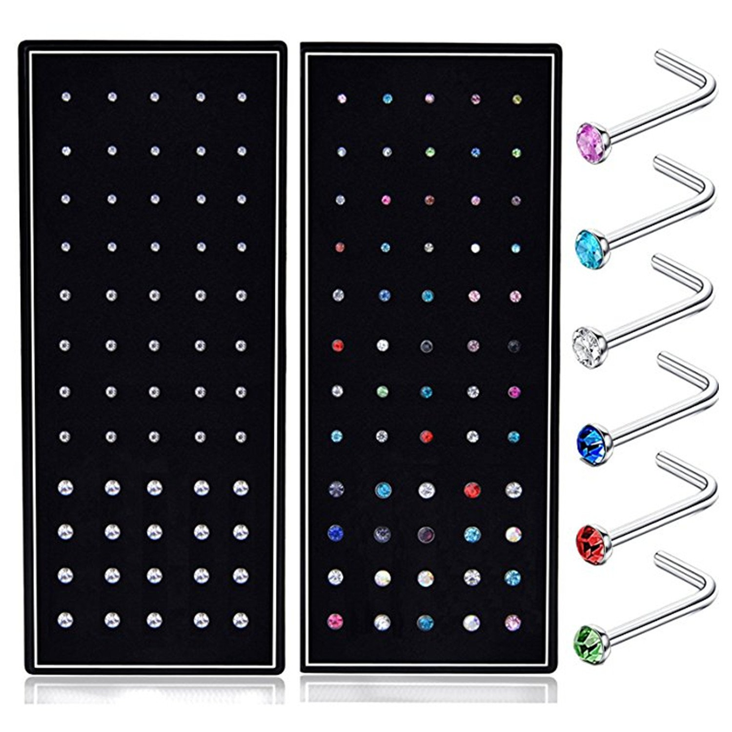 SMUOBT 120pcs 22G L Shaped Stainless Steel Nose Studs Rings Piercing Pin Body Jewelry 1.5mm 2mm 2.5mm a Set White and Colour by SMUOBT