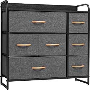 Crestlive Products Wide Dresser Storage Tower - Sturdy Steel Frame, Wood Top, Easy Pull Fabric Bins, Wood Handle - Organizer Unit for Bedroom, Hallway, Entryway, Closets - 7 Drawers (Gray)