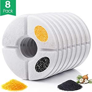 Dycsin Cat Water Fountain Filter Replacement 8 Pack Carbon Filters for Pet Flowers Fountain Helps to Increase Water Consumption and Keep Pets Healthy