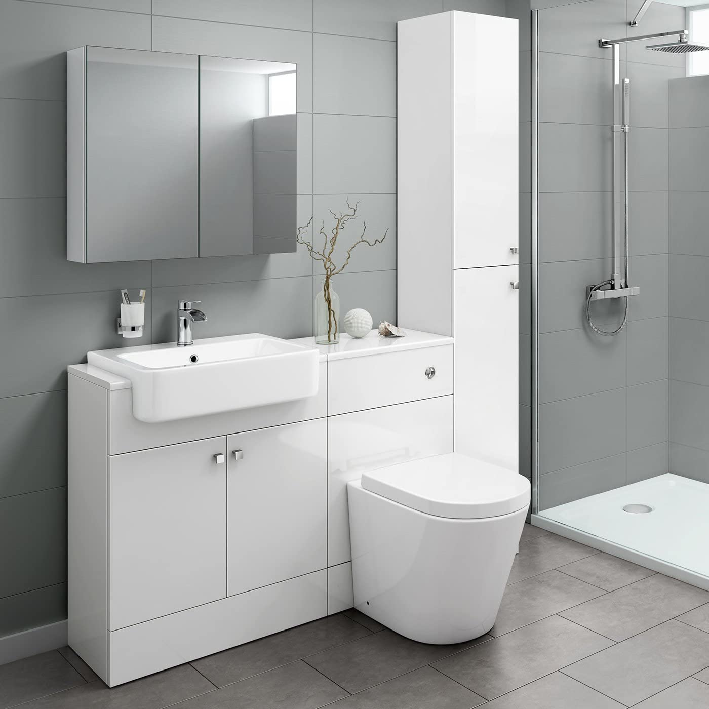 Combined Furniture Suite Vanity Unit Cabinet Toilet Basin Sink
