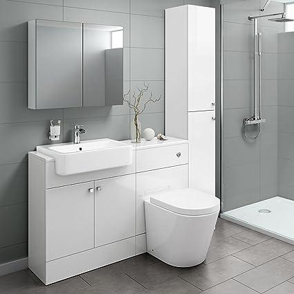 Combined Furniture Suite Vanity Unit Cabinet Toilet Basin Sink