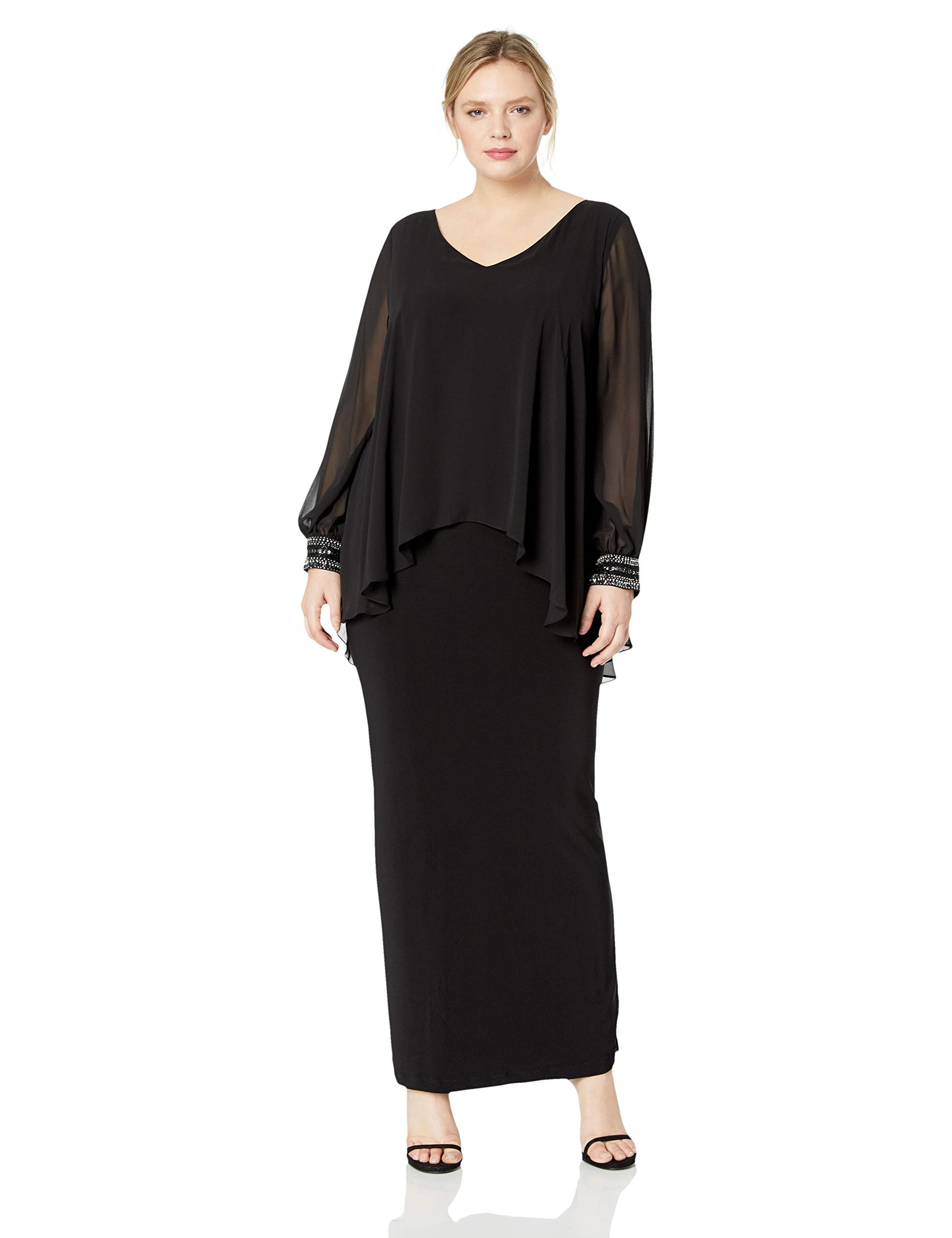 Alex Evenings Women's Plus Size Long V-Neck Column Dress with Illusion Sleeves, Black, 20W by Alex Evenings
