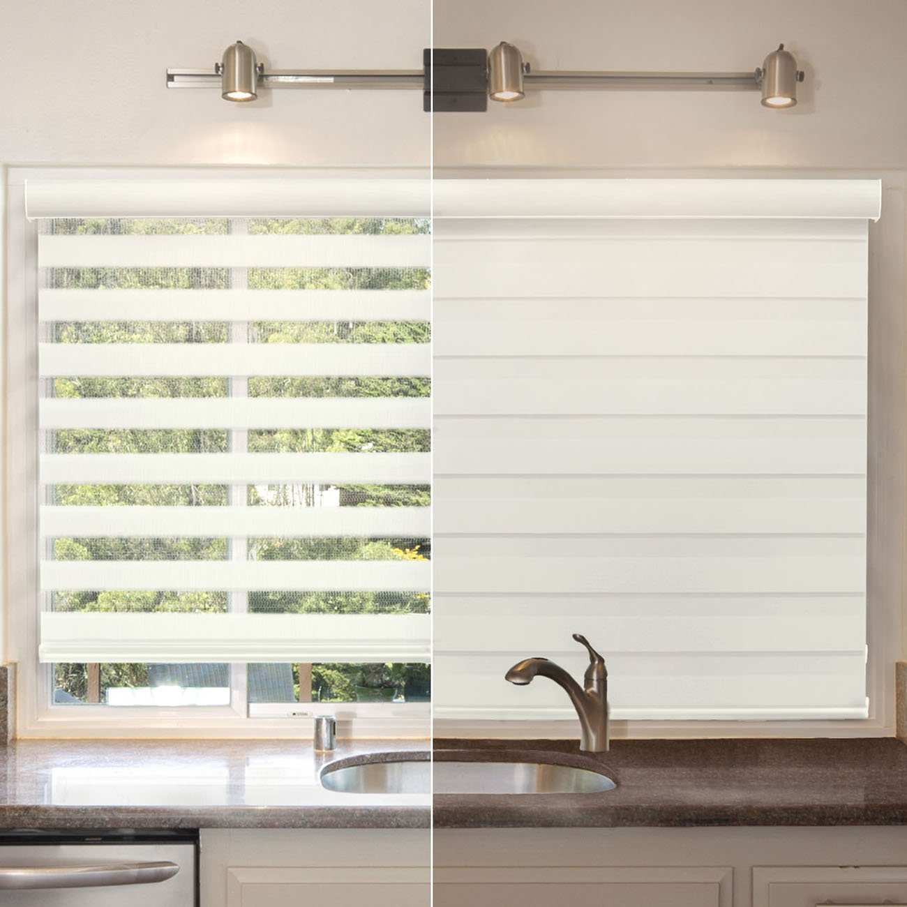 Chicology Free-Stop Cordless Zebra Roller Shades Dual Layer Combi Window Blind, 57'' W X 72'' H, Striped Dove (Dual Layer) by CHICOLOGY (Image #5)